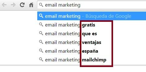 email marketing google suggest marketing de contenidos