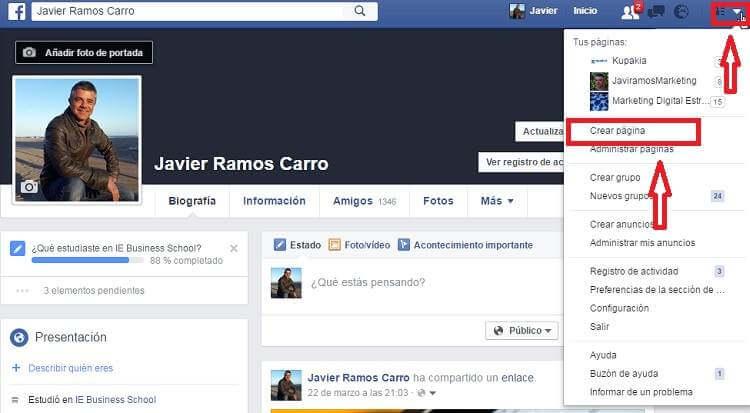 fan page crear pagina facebook en español