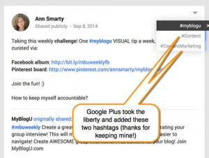 Uso de hashtag relacionados por google+