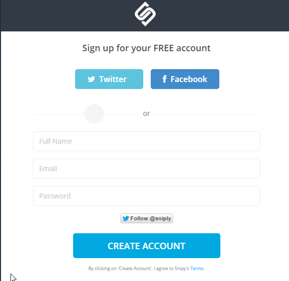Cómo crear una cuenta en Sniply