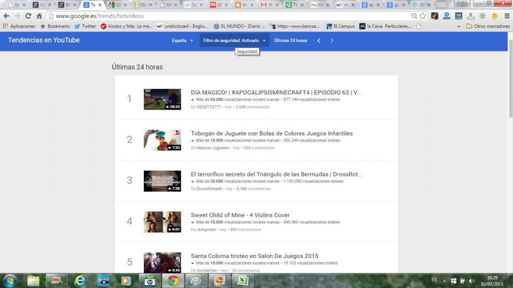 Tendencias de busqueda mas recientes You Tube en Google trends