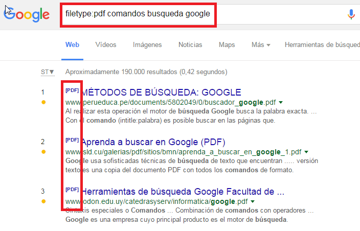 comandos google filetype