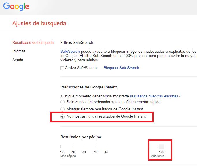 comandos google 100 resultados