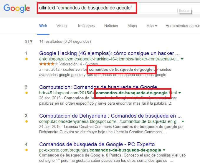 comandos google allintext