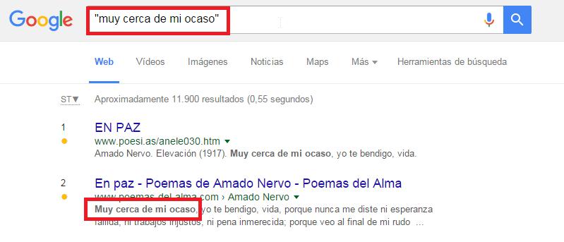 comandos busqueda google comillas frase exacta
