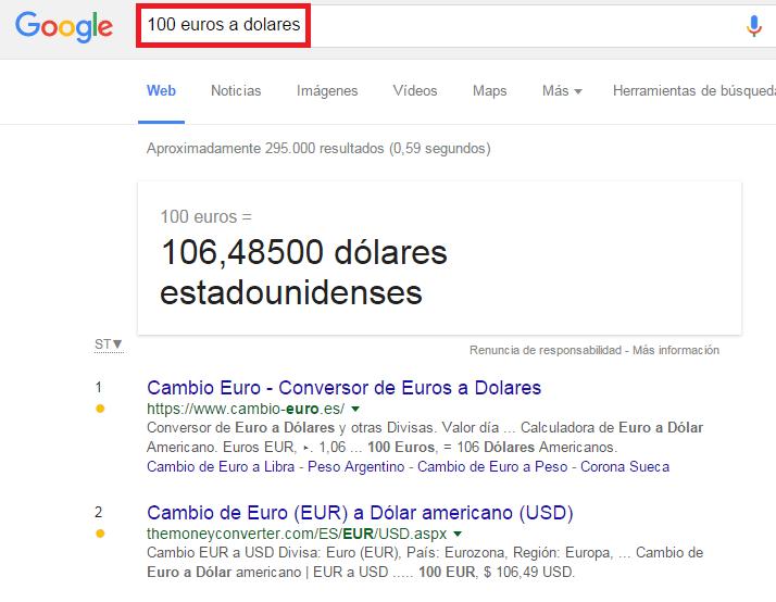 comandos google conversor