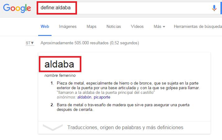 comandos google define