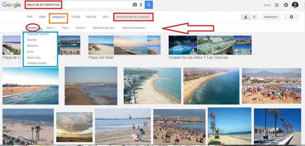 comandos google imagenes