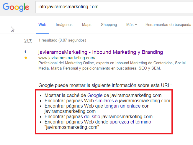 comandos google info