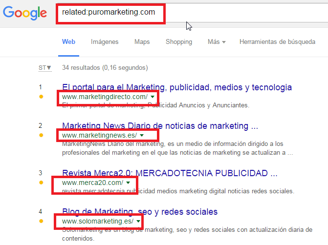 comandos google related