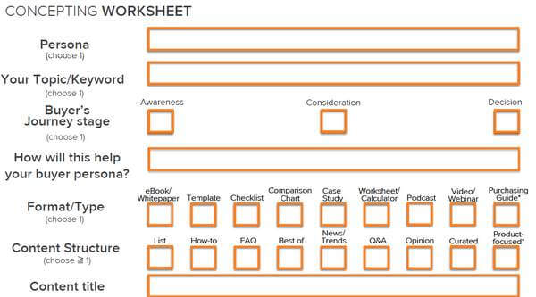 concepting worksheet marketing mix contenidos con un proposito
