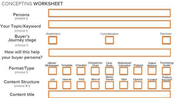 concepting worksheet marketing mix contenidos con un proposito