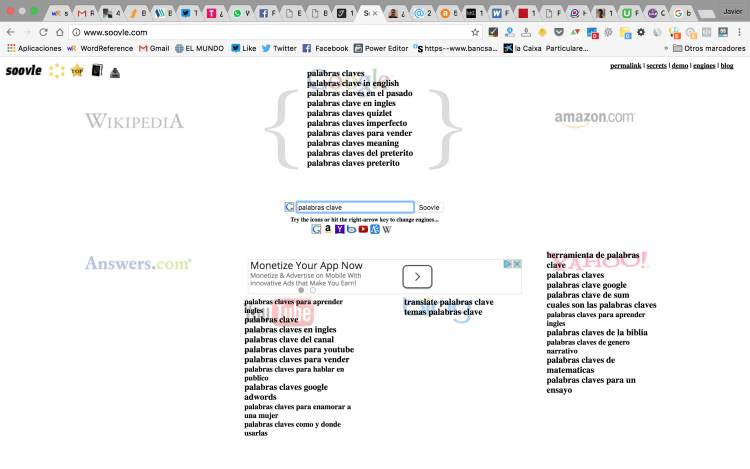 soovie keywords tool busca palabras