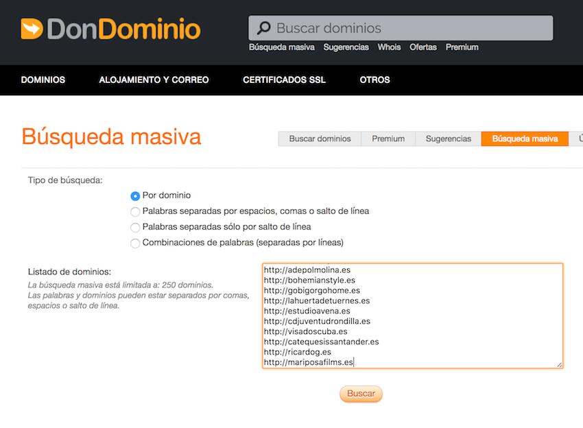 búsqueda masiva dominios caducados comprar dominio web