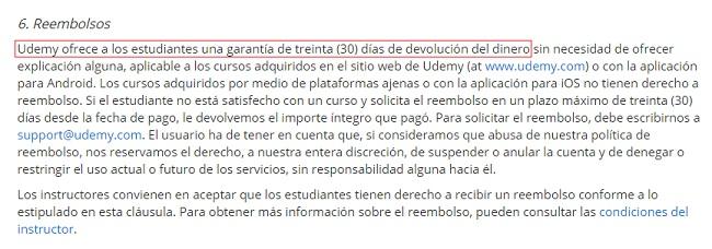 politica de reembolso de Udemy Formacion online
